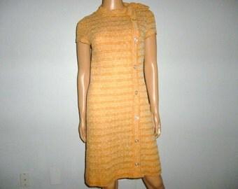"Vintage 1960's - R& K Knits - Autumn Color - A-Line - Shift - Mod - Dress - with mock button front detail - bust size 31"""