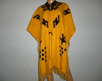 Vintage 1950's - Orange - Black - Velvet Embellished Applique - Authentic - Mexican - Western - Fringed - Poncho