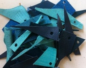 Leather scraps - blu, turquoise, pale blu