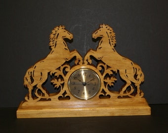 Two Horses Riding in the Wind  Wood Mantel Clock Scrolled