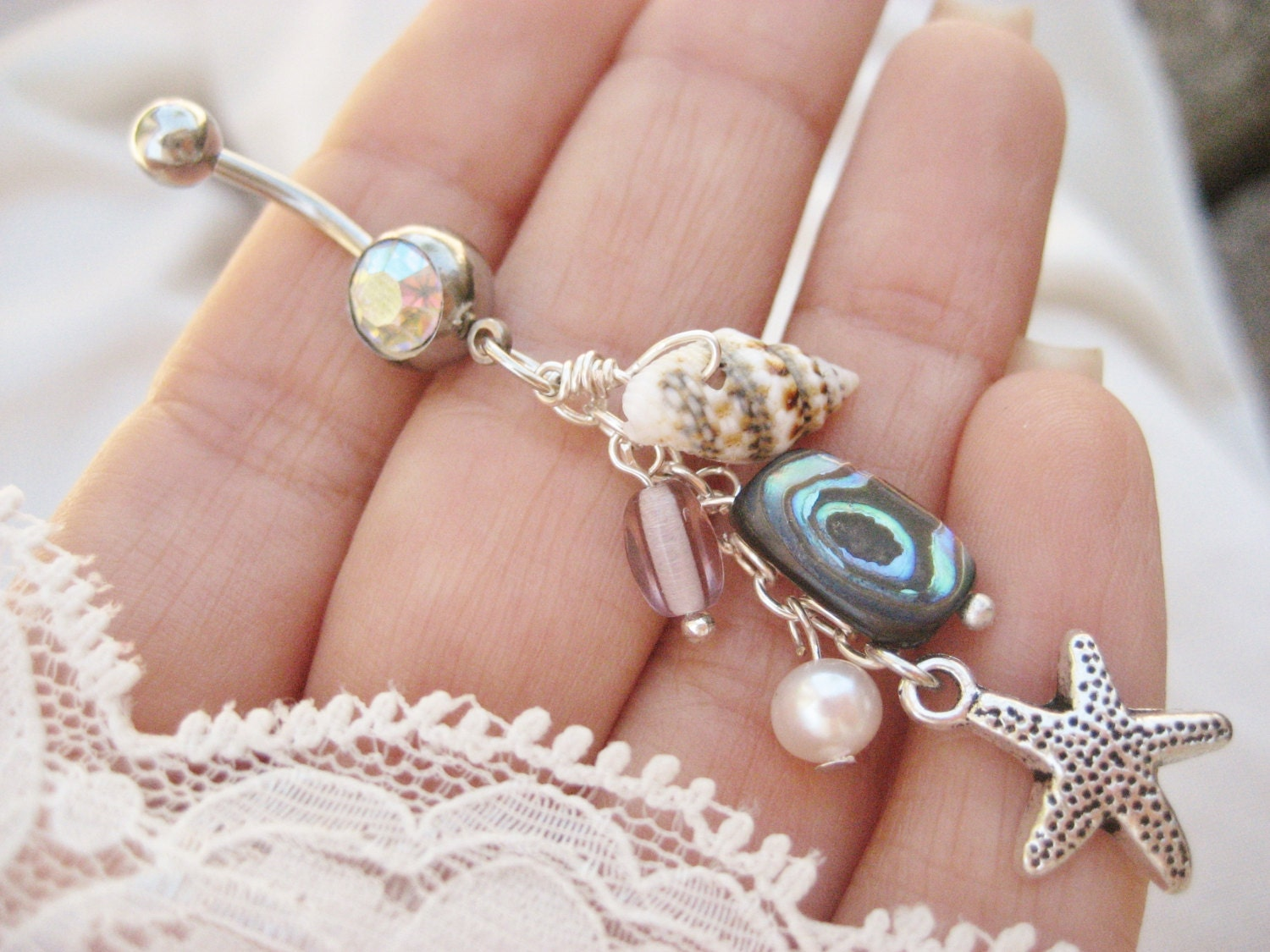 belly button jewelry ring abalone real seashell shell