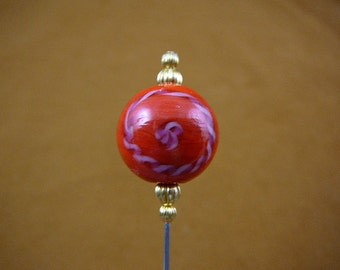 red pink candy cane swirl striped glass with gold beads hatpin ladies pin hat U-283-19