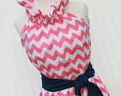 NEW...Perfectly Pink...Women's Easter Chevron Dress with Removable Sash