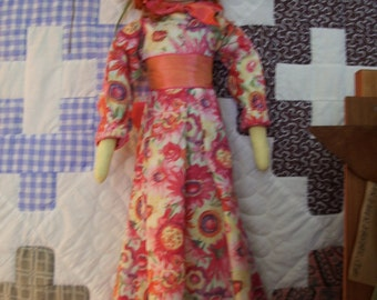 "Handmade Primitive  Doll  22"" -"" Watercolor Wanda"""