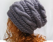 Slouchy Hat Knitting Pattern- Slouchy Knit Hat Pattern- Slouchy Hats- Straight Needle Hat Pattern N39