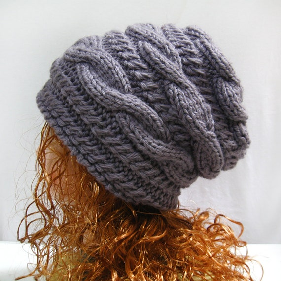 Beanie Knitting Pattern Straight Needles : Slouchy Hat Knitting Pattern Slouchy Knit Hat Pattern