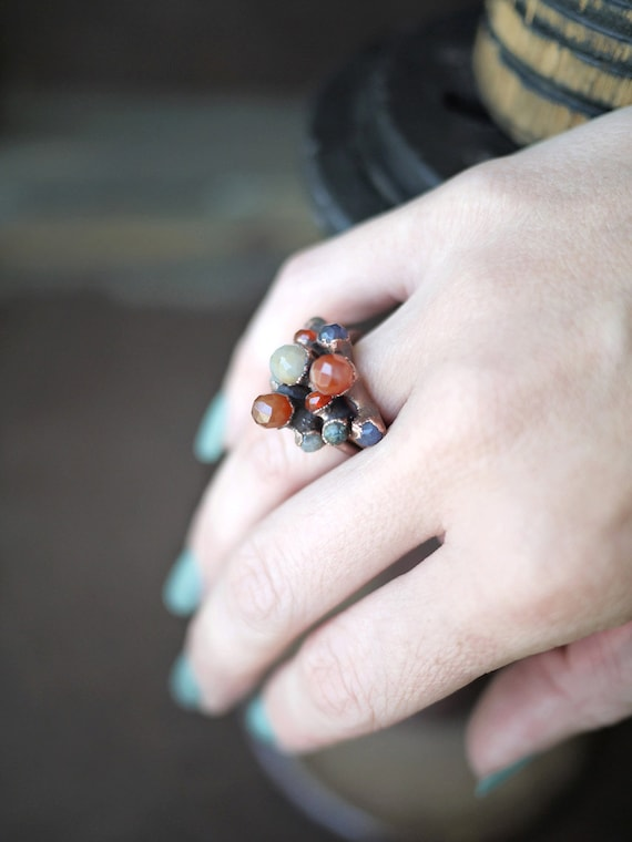 Electroformed Copper Five Stone Stacker Ring - Made to Order