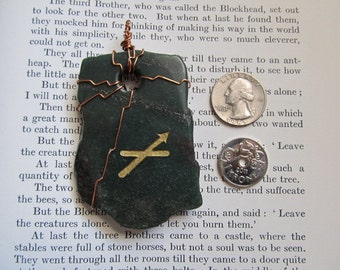 Item 2292 Aventurine Sagittarius Copper Wire Wrapped Pendant Necklace