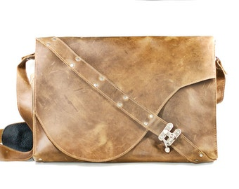 Light Brown Leather Laptop Bag with Harness Strap - Industrial Laptop Bag - Steampunk Leather Satchel
