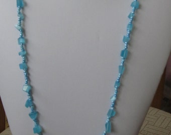 34 Inch Blue Beaded Necklace