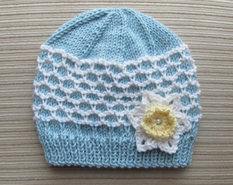 Knitting Pattern #119 Blue and White Hat in Ridged Slip Stitch for a Girl 0-6 months and 2-4 years