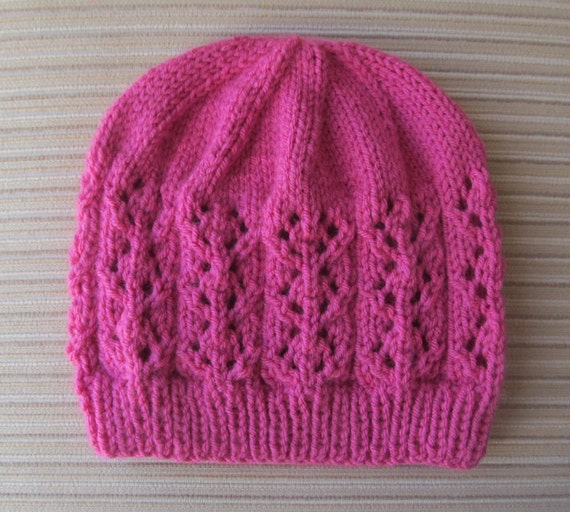 Knitting Patterns For Small Hats : Knitting Pattern 147 Hat with Small Lacy Diamonds in Size