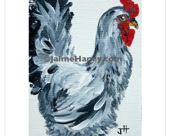 Chicken Stroll black and white rooster painting 8x10 print