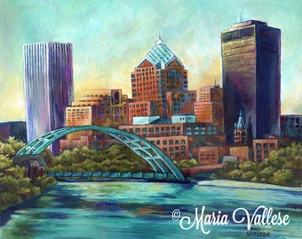 Flower City - Rochester, NY 11x14 Matted and Signed Print, Rochester NY Painting, Rochester Painting, City Skyline