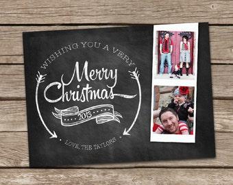 Photo Christmas Card : Film Strip Chalkboard Custom Photo Holiday Card Printable