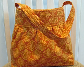 Gathered Cotton  Fabric Bag in Joel Dewberry's Ginseng Orchid Petals in Rust/Orange Tangerine and Gold