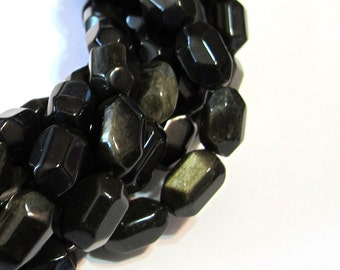 Obsidian golden sheen faceted nuggets whole strand
