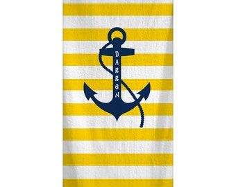 Custom Personalized Beach Towel -  Yellow Stripe & Navy Anchor -Color and Personalization of your choice