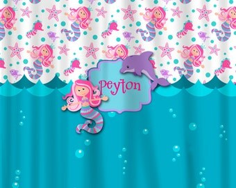 Personalized Custom Mermaid Shower Curtain -Turquoise, Pink, Purple -your name and colors