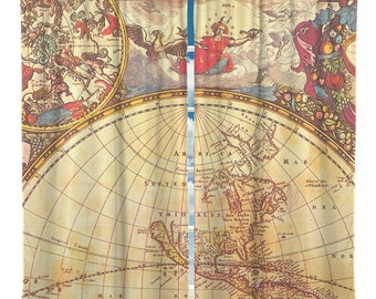 Custom Window Curtain, Vintage Old World Globe Map,  Any Size - Any Colors - Any Pattern
