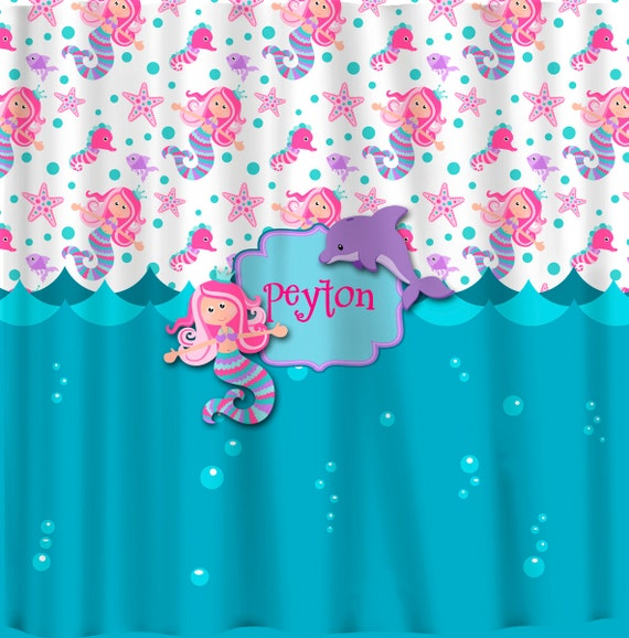 Personalized Custom Mermaid Shower Curtain -Turquoise, Pink, Purple ...