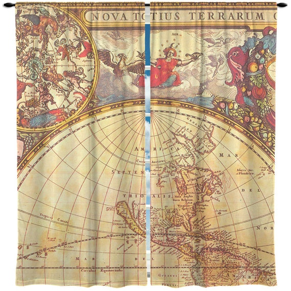 Custom window curtain vintage old world globe map by redbeauty for Old world curtains and drapes