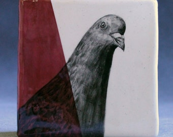 Hand Painted Pigeon Portrait Wall Tile Burgundy Rose