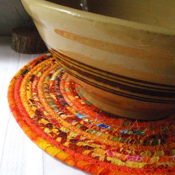 Bohemian Coiled Orange Mat, Hot Pad or Trivet for your Kitchen - LARGE ROUND