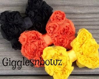 3pc Chiffon Rosette Bows- Halloween Bows- Petite Size Shabby ROSE Mesh BoWS- 3 inch- Rosette Shabby Bow- Diy Supplies- Headband Supplies