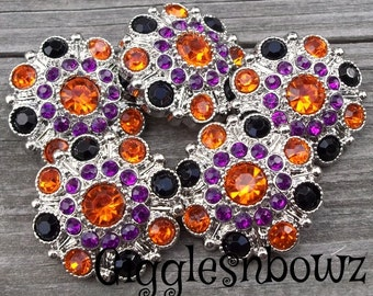 5 Rhinestone Buttons- FuNKY HALLOWEEN ORaNGe, BLaCK, PuRPLE Acrylic Rhinestone Buttons 28mm- Headband Suplies- Diy Supplies- Costume Button