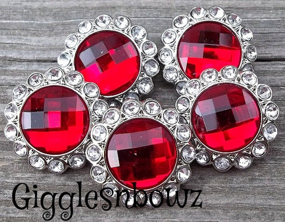Rhinestone Buttons- 5 Pc Valentines Day Red and Clear Rhinestone Buttons 23mm