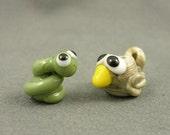 Early Bird Gets The Worm Lampwork Bead Pair Set SRA Animal Sculptural Handmade Glass