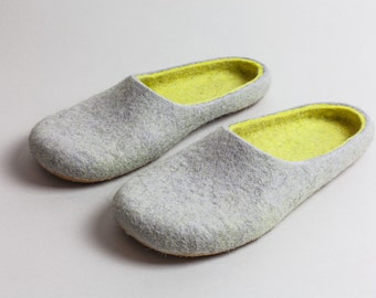 Felted wool slippers Lemon and Grey  HANDMADE TO ORDER