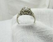 Sale! Circa 1930 18kt White Gold and Filigree 0.33 Carat Diamond Engagement  Ring.