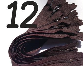 12 inch zippers wholesale, Ten pcs, YKK brown color 570