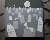 "Halloween spooky Sticky Note - Post it-  pad Sticky Notes  Creepy Graveyard  with Bats Stationary 3"" x 3"""