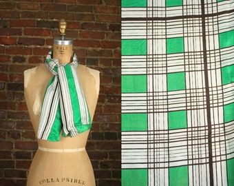 Vintage Midcentury Scarf 50s 60s Green Rayon 1960s Printed Geometric Wrap Tie