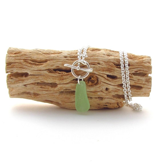 Sterling Silver Chain w/Toggle Clasp and Beach Glass Drop - Seafoam