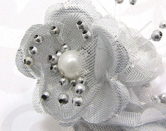 Fabric Flower Embellishments in Silver