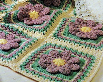 INSTANT DOWNLOAD PDF Vintage Crochet Pattern for Flower Patch Afghan Throw Blanket  Granny Squares  Retro
