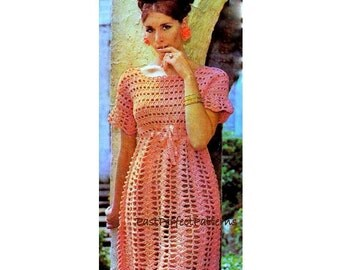 INSTANT DOWNLOAD PDF Vintage Crochet Pattern  Mini Dress Tunic Retro Plus Free Pattern Goddess Lace