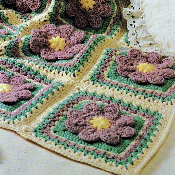 INSTANT DOWNLOAD PDF Vintage Crochet Pattern for Flower Patch