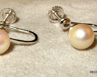 14k 14kt White Solid Gold Cultured Pearl Earrings Screw On Back with Original  Box
