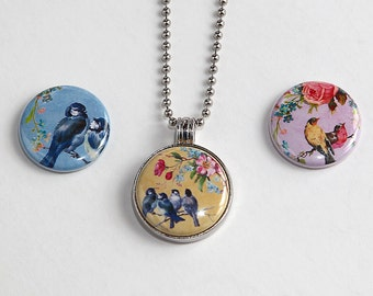 Enchanted Birds - Magnetic Pendant Necklace - with 3 inserts