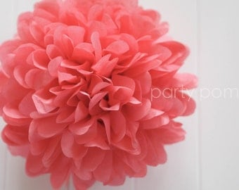 Island pink tissue paper pom .. party decor / wedding decoration