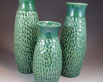 FREE SHIPPING Set of 3 Large Vases in Pantone Color of the Year Peacock Emerald Green Glaze with Carved Texture