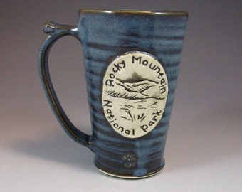Small Wheel Thrown Rocky Mountain National Park Moraine Park Mug in Croc Blue Glaze