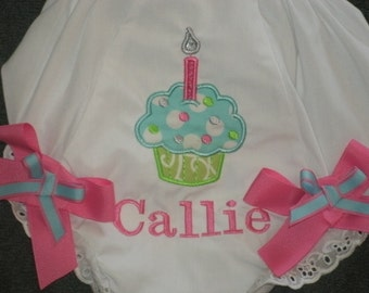 Personalized Birthday Cupcake Bloomers Diaper Cover Monogrammed