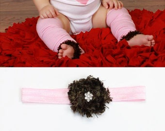 Pink and Brown Baby leg Warmers and Headband Set