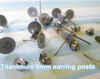 24pcs (12 pairs) Titanium Nickel Free 8mm Flat-Pad Earring Posts and Backs glue on diy jewelry finding supplies